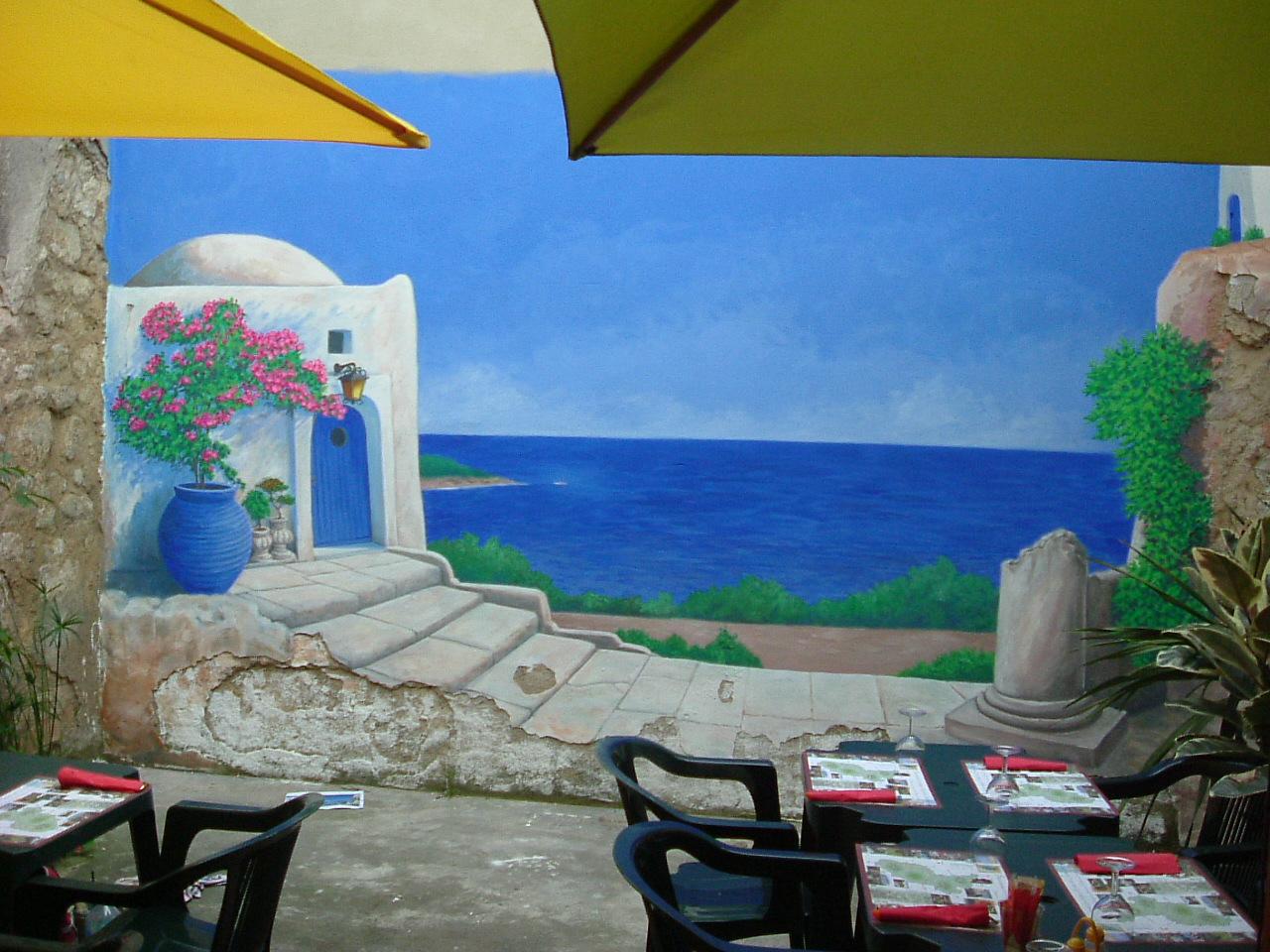 Fresque ext rieure en trompe l 39 oeil en vend e dordogne et charente - Fresque sur mur exterieur ...