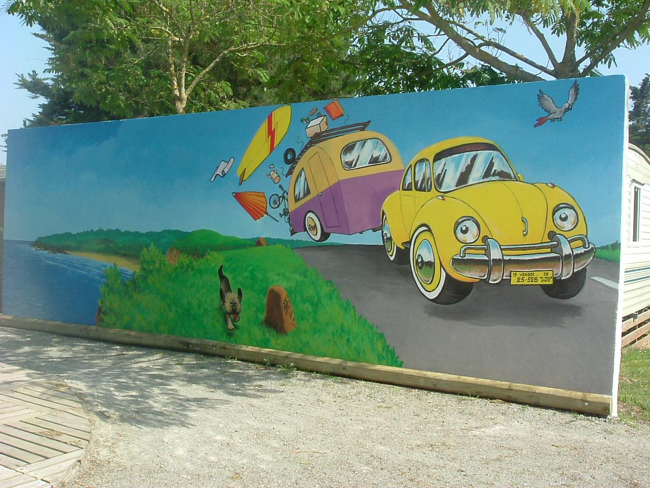 Peindre Une Fresque Sur Un Mur fresque extérieure en trompe l'oeil en vendée, dordogne et